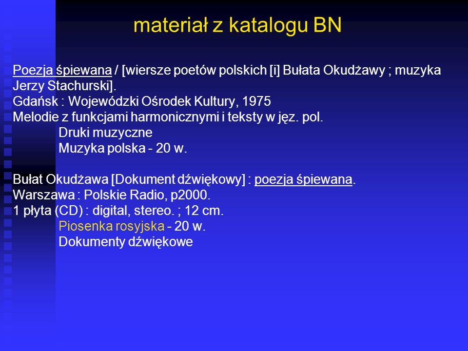 materiał z katalogu BN Poezja śpiewana / [wiersze poetów polskich [i] Bułata Okudżawy ; muzyka. Jerzy Stachurski].